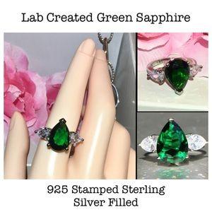 5ct Pear Cut Green Sapphire 3 Stone Statement Ring